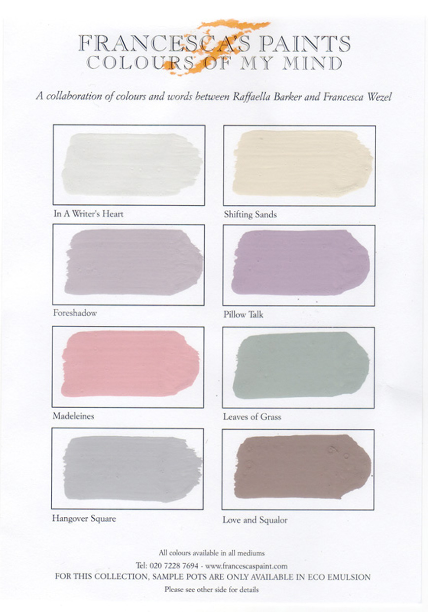 C24 Colours of my Mind collection Colour Chart