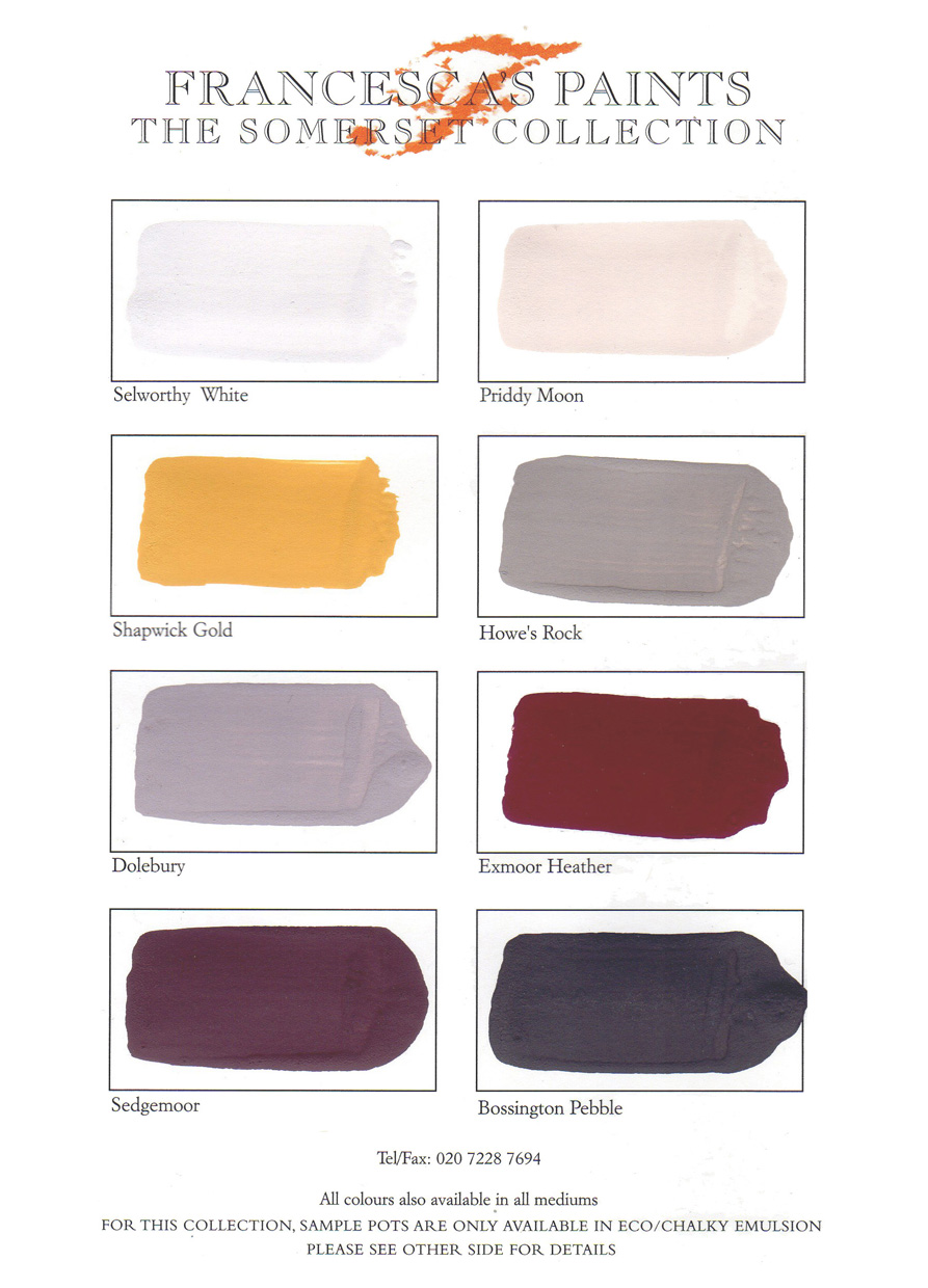 C19 Somerset collection Colour Chart