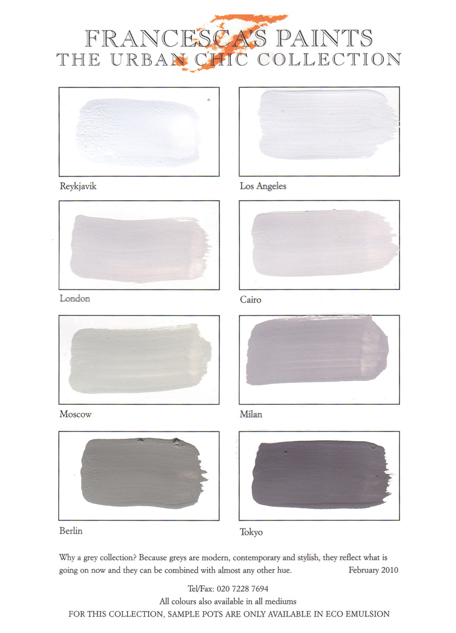 C17 Urban Chic collection Colour Chart